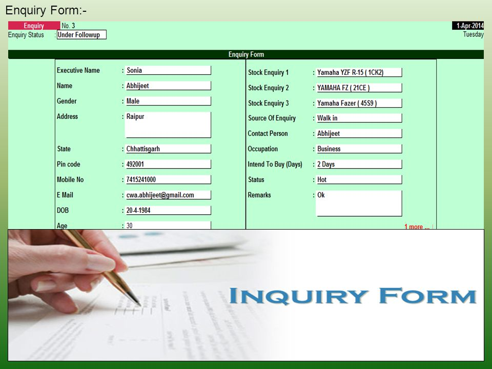 Enquiry Form:-