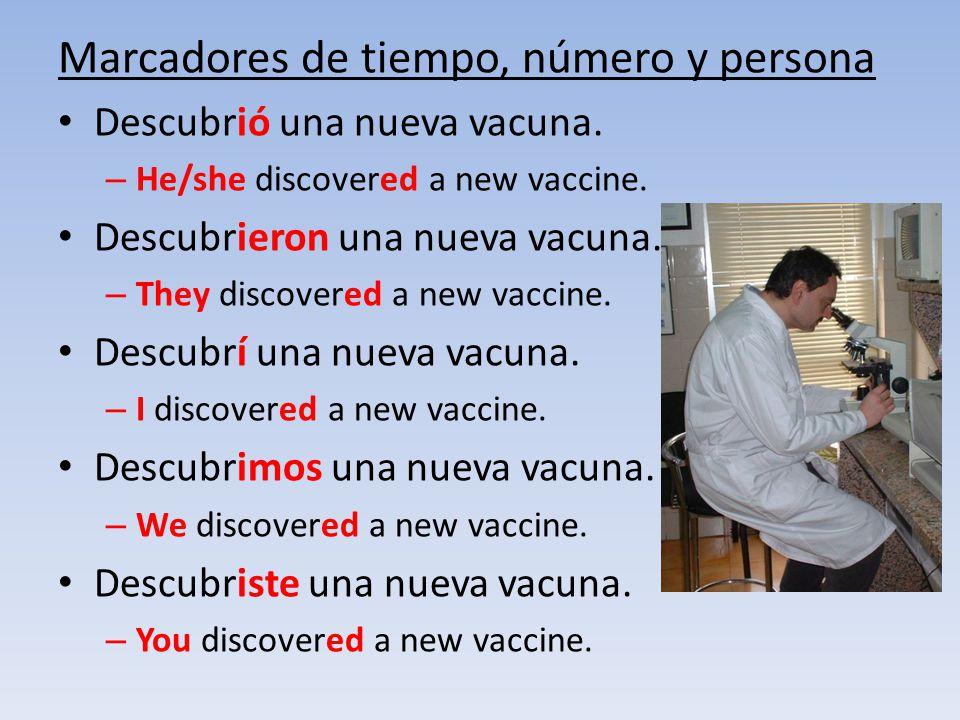 Marcadores de tiempo, número y persona Descubrió una nueva vacuna. – He/she discovered a new vaccine. Descubrieron una nueva vacuna. – They discovered