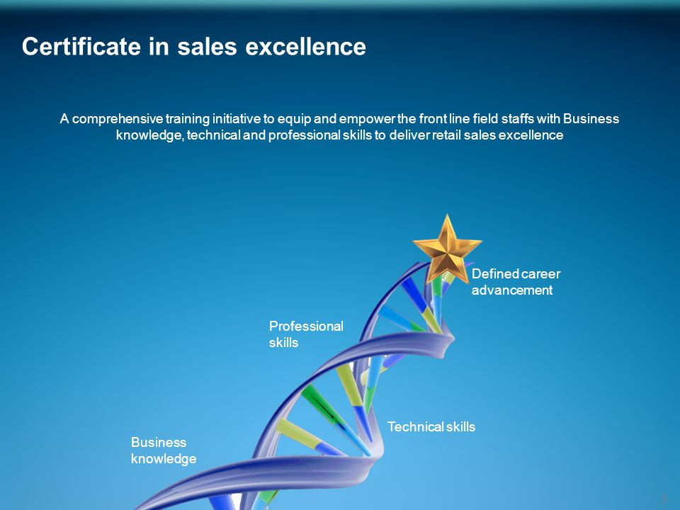 Certificate in sales excellence 3 A comprehensive training initiative to equip and empower the front line field staffs with Business knowledge, technical and professional skills to deliver retail sales excellence Technical skills Business knowledge Professional skills Defined career advancement