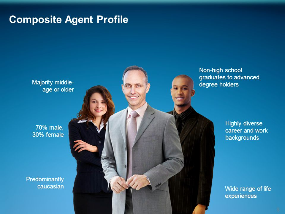 Composite Agent Profile 8 70% male, 30% female Majority middle- age or older Predominantly caucasian Non-high school graduates to advanced degree holders Highly diverse career and work backgrounds Wide range of life experiences