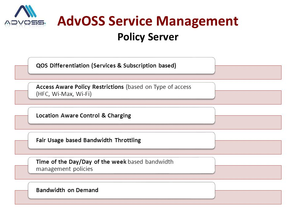 AdvOSS Service Management Policy Server QOS Differentiation (Services & Subscription based) Access Aware Policy Restrictions (based on Type of access (HFC, Wi-Max, Wi-Fi) Location Aware Control & ChargingFair Usage based Bandwidth Throttling Time of the Day/Day of the week based bandwidth management policies Bandwidth on Demand