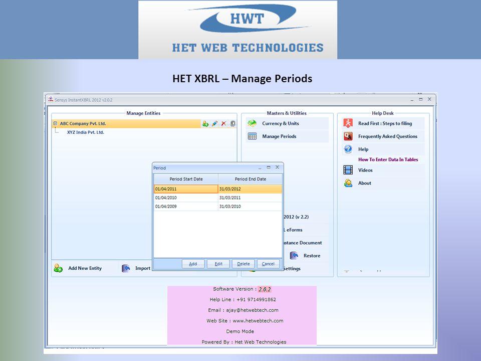 HET XBRL – Manage Periods