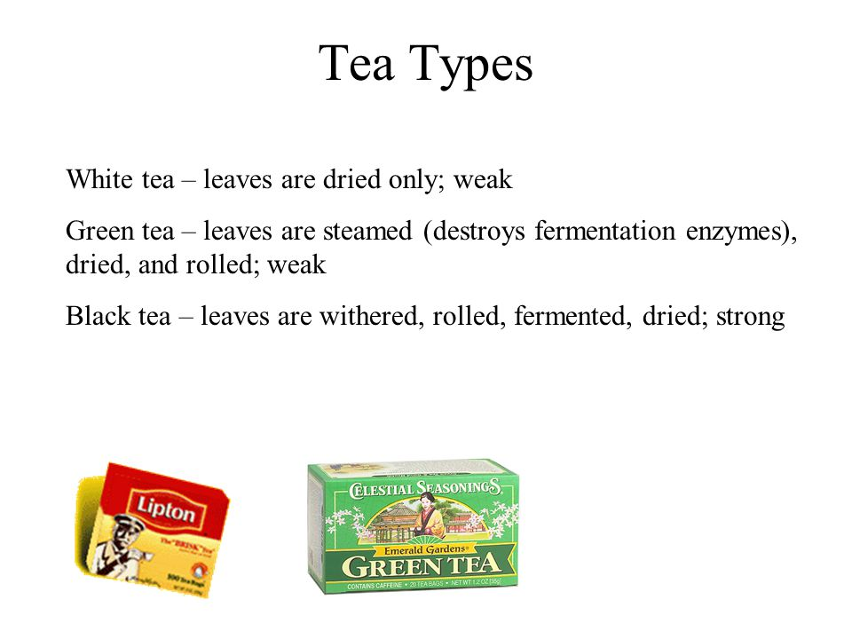 Tea Types White tea – leaves are dried only; weak Green tea – leaves are steamed (destroys fermentation enzymes), dried, and rolled; weak Black tea –