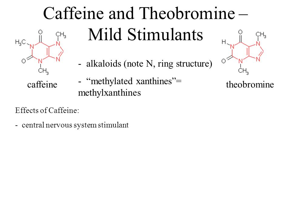 "Caffeine and Theobromine – Mild Stimulants caffeinetheobromine - alkaloids (note N, ring structure) - ""methylated xanthines""= methylxanthines Effects"