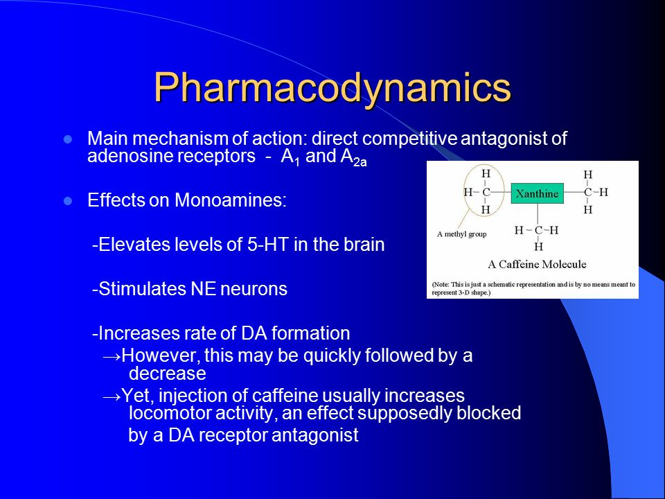 Pharmacodynamics Main mechanism of action: direct competitive antagonist of adenosine receptors - A 1 and A 2a Effects on Monoamines: -Elevates levels