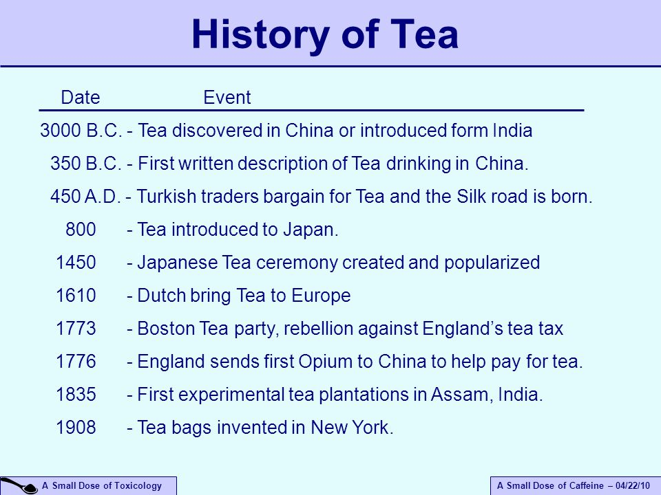A Small Dose of ToxicologyA Small Dose of Caffeine – 04/22/10 History of Tea Date Event 3000 B.C. - Tea discovered in China or introduced form India 3
