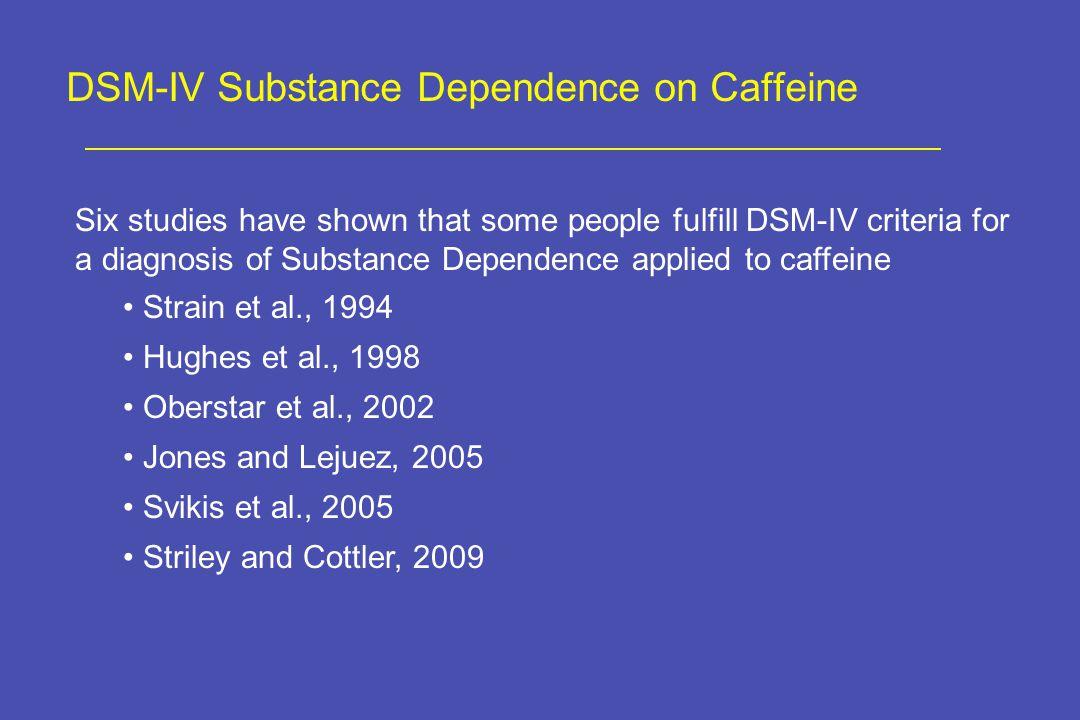 DSM-IV Substance Dependence on Caffeine Six studies have shown that some people fulfill DSM-IV criteria for a diagnosis of Substance Dependence applied to caffeine Strain et al., 1994 Hughes et al., 1998 Oberstar et al., 2002 Jones and Lejuez, 2005 Svikis et al., 2005 Striley and Cottler, 2009