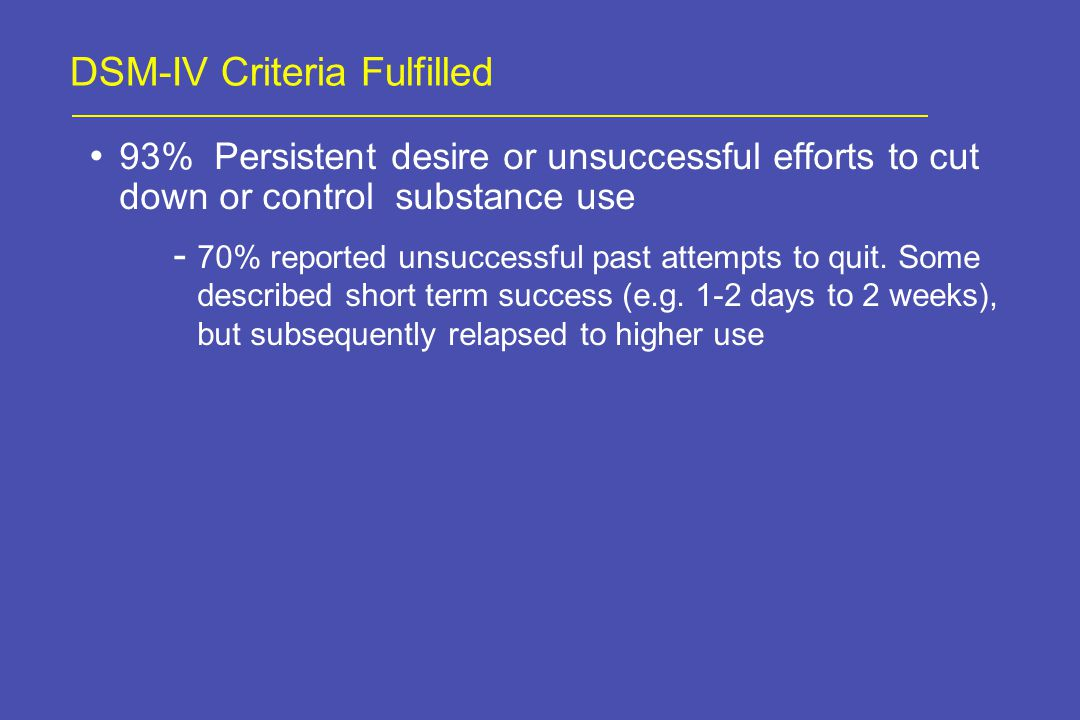 DSM-IV Criteria Fulfilled 93% Persistent desire or unsuccessful efforts to cut down or control substance use - 70% reported unsuccessful past attempts to quit.
