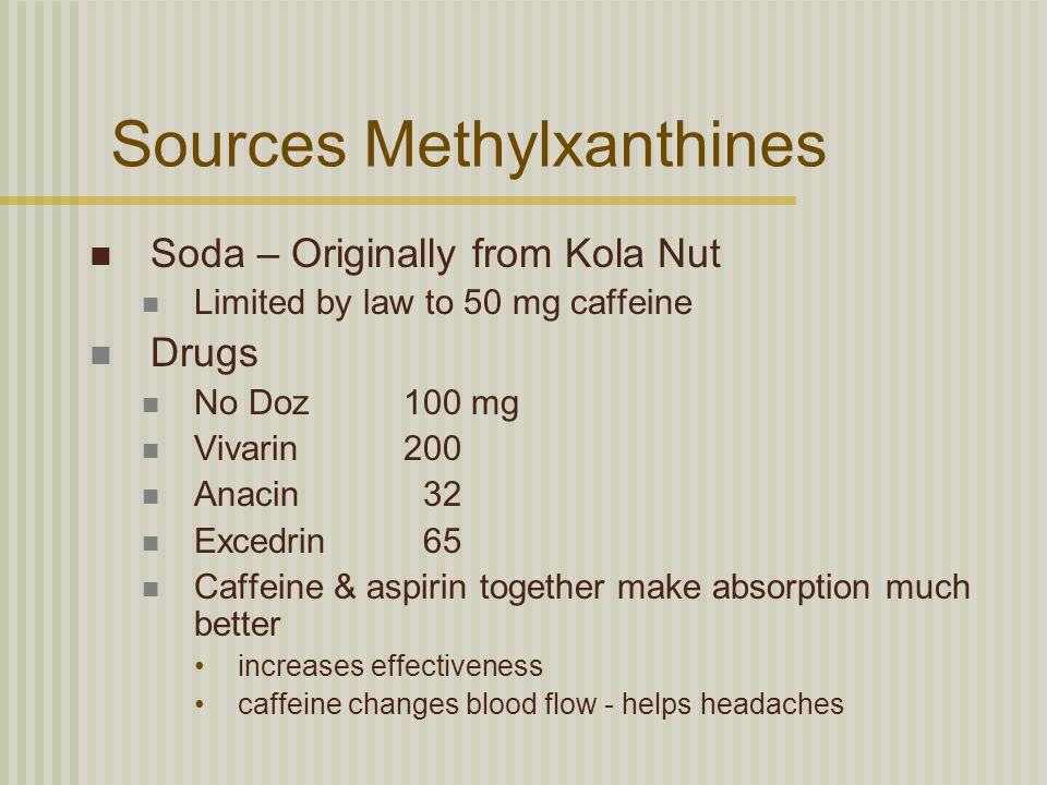 Sources Methylxanthines Soda – Originally from Kola Nut Limited by law to 50 mg caffeine Drugs No Doz100 mg Vivarin200 Anacin 32 Excedrin 65 Caffeine & aspirin together make absorption much better increases effectiveness caffeine changes blood flow - helps headaches