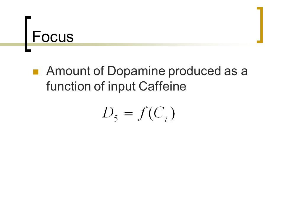 Focus Amount of Dopamine produced as a function of input Caffeine