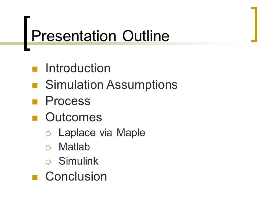 Presentation Outline Introduction Simulation Assumptions Process Outcomes  Laplace via Maple  Matlab  Simulink Conclusion