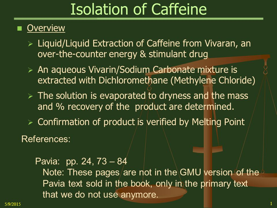 Isolation of Caffeine Background   Caffeine is a bitter, white crystalline alkaloid (derivative of Xanthine) that acts as a stimulant drug   Caffeine is synthesized in plants from the purine nucleotides AMP, GMP, and IMP.