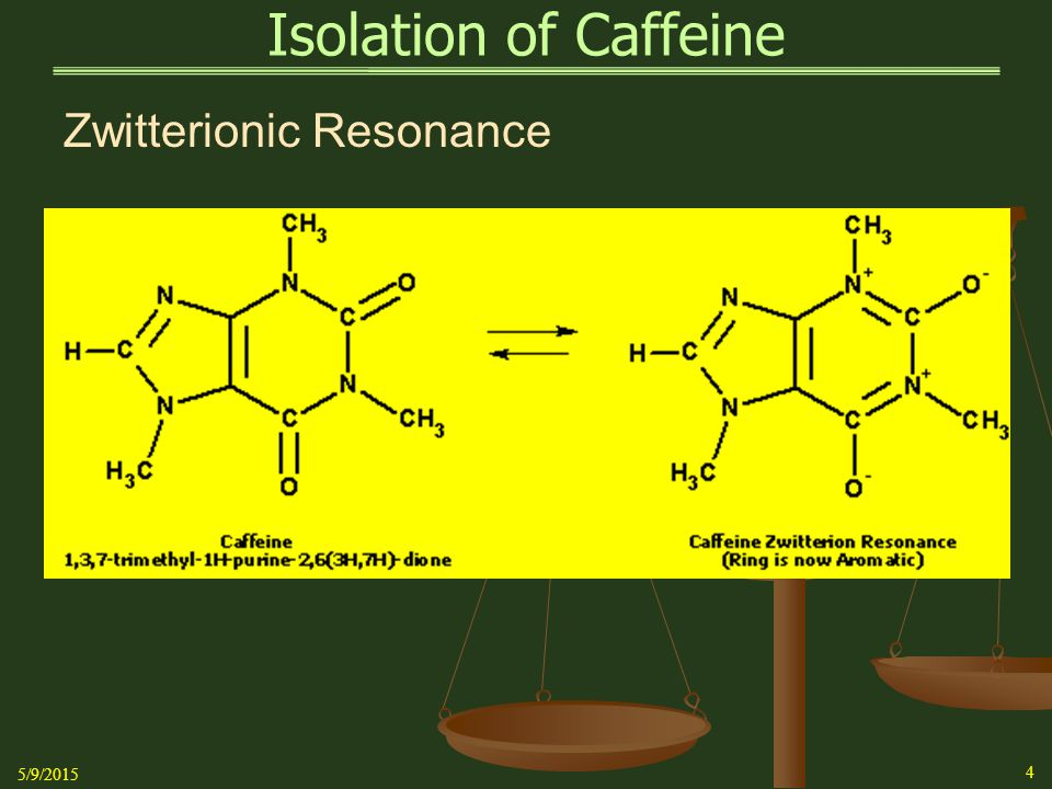 Isolation of Caffeine   Air-dry the sample from the evaporation procedure or the vacuum filtration procedure on a pre-weighed weighing tray for one week   Compute the mass of the purified sample   Compute the percent recovery from the original mass of the tablets   If available, use the percentage of active ingredient from the tablet bottle to compare your experimentally determined content with the actual content   Determine melting point -  236 o C Note: Decomposition of this crude material occurs beginning at 236 o C over a range of 5 o C or so 5/9/2015 15