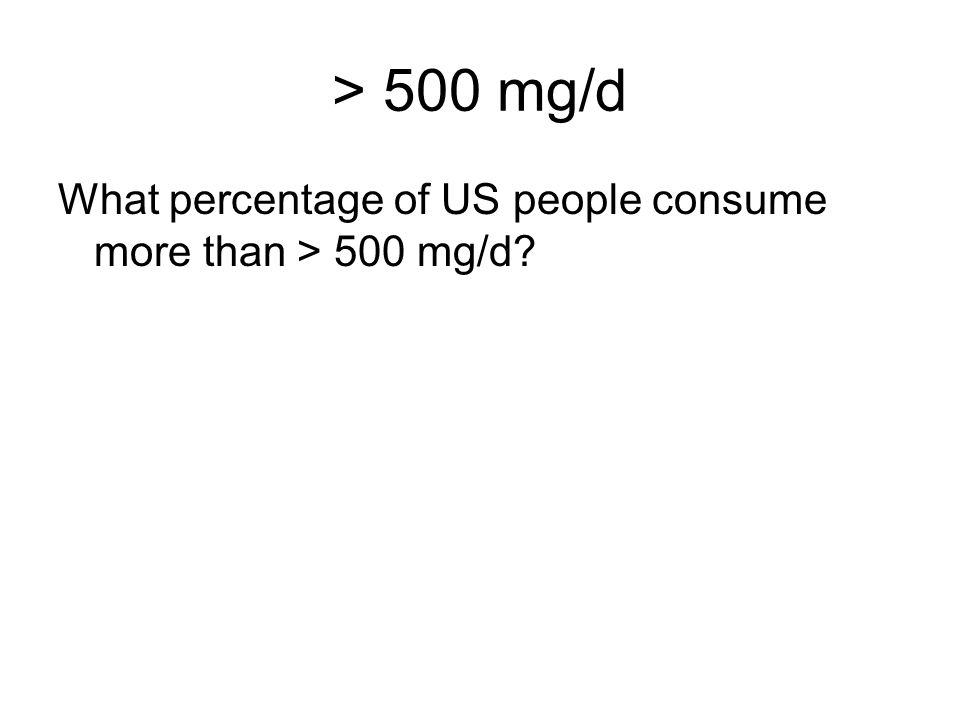> 500 mg/d What percentage of US people consume more than > 500 mg/d?