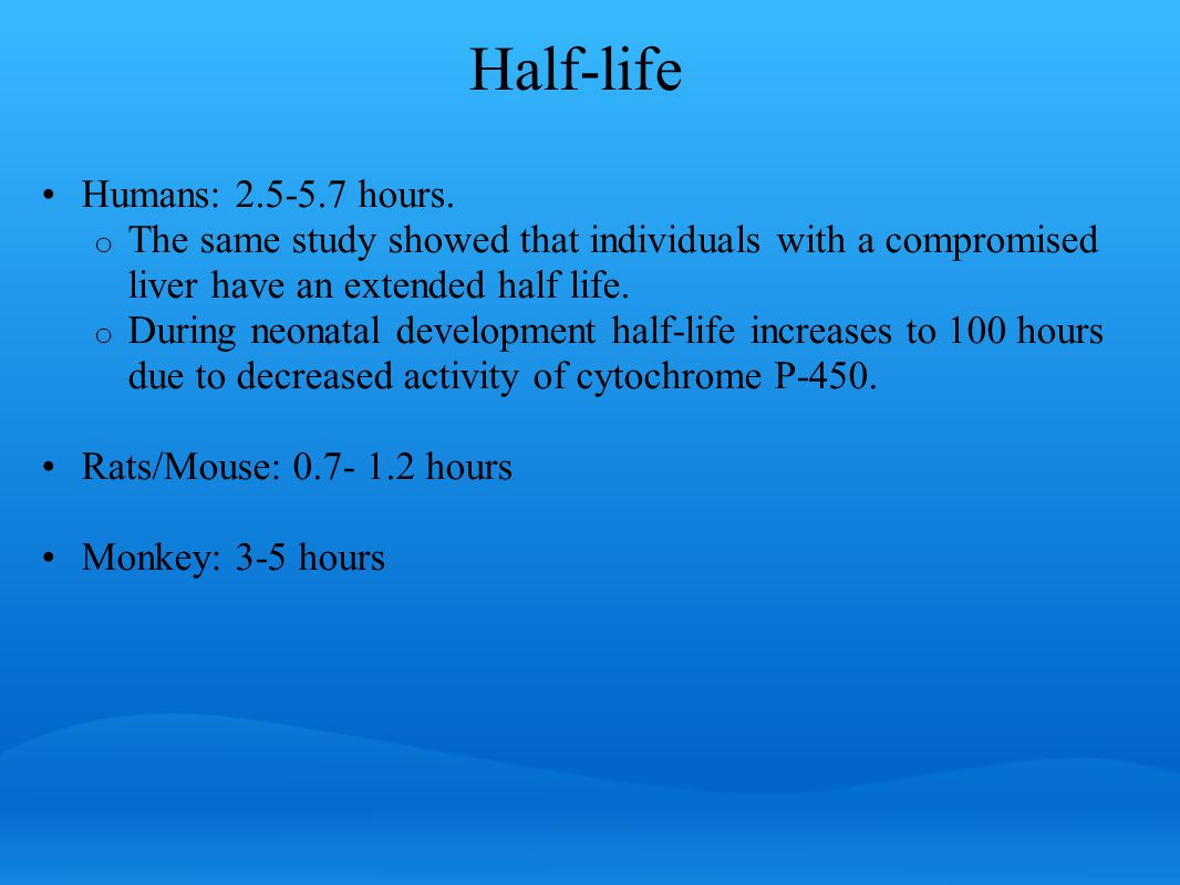 Half-life Humans: 2.5-5.7 hours.