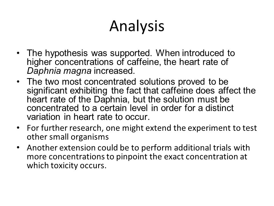 Analysis The hypothesis was supported.