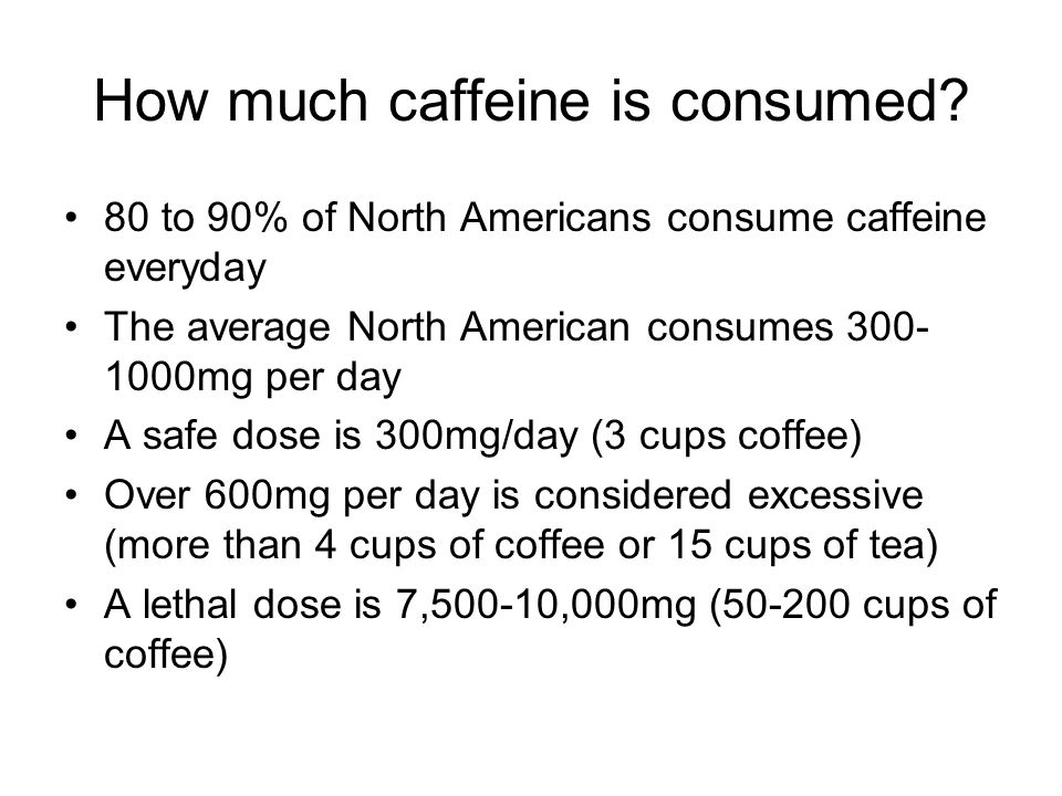 How much caffeine is consumed.