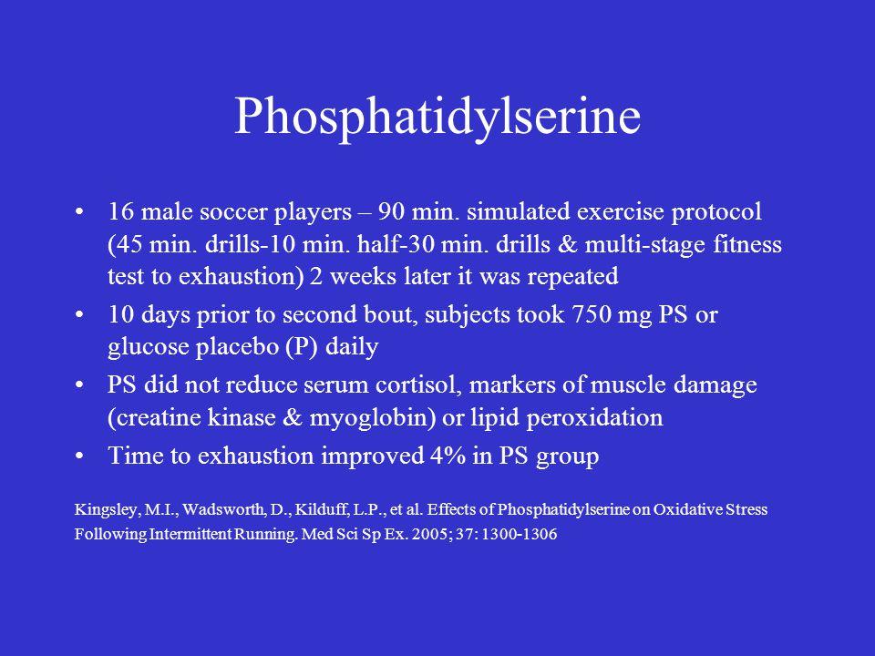 Phosphatidylserine 16 male soccer players – 90 min.