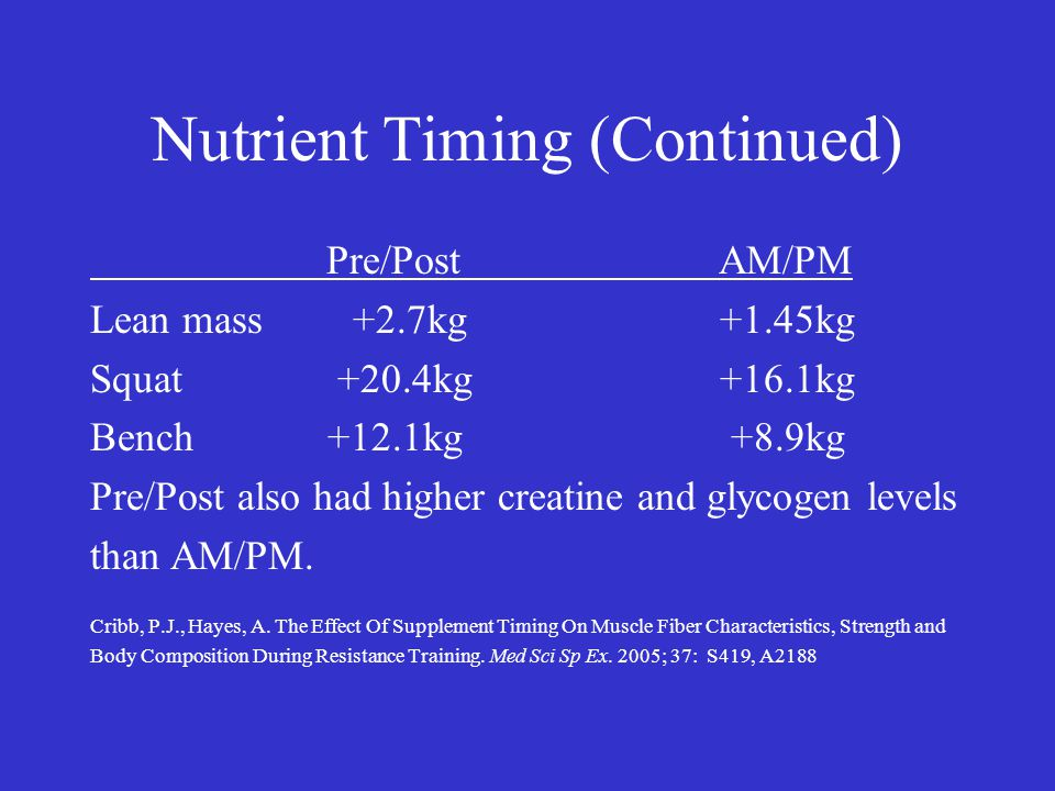 Nutrient Timing (Continued) Pre/Post AM/PM Lean mass +2.7kg +1.45kg Squat +20.4kg +16.1kg Bench +12.1kg +8.9kg Pre/Post also had higher creatine and glycogen levels than AM/PM.