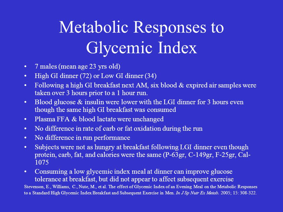 Metabolic Responses to Glycemic Index 7 males (mean age 23 yrs old) High GI dinner (72) or Low GI dinner (34) Following a high GI breakfast next AM, six blood & expired air samples were taken over 3 hours prior to a 1 hour run.