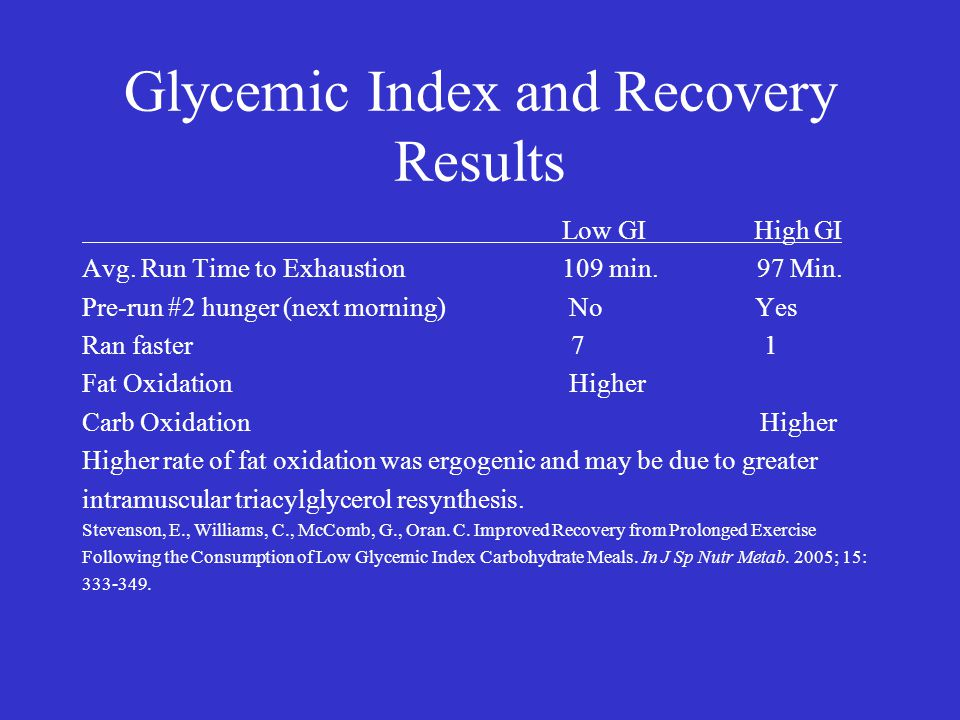 Glycemic Index and Recovery Results Low GIHigh GI Avg. Run Time to Exhaustion 109 min. 97 Min. Pre-run #2 hunger (next morning) No Yes Ran faster 7 1