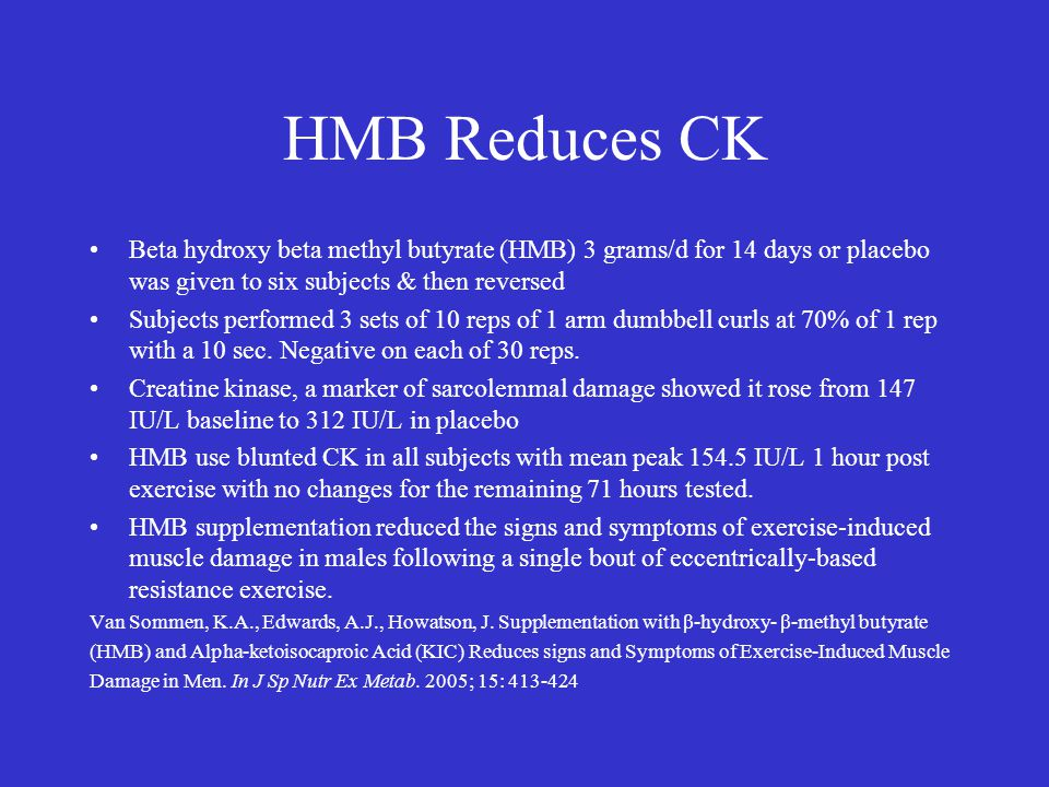 HMB Reduces CK Beta hydroxy beta methyl butyrate (HMB) 3 grams/d for 14 days or placebo was given to six subjects & then reversed Subjects performed 3