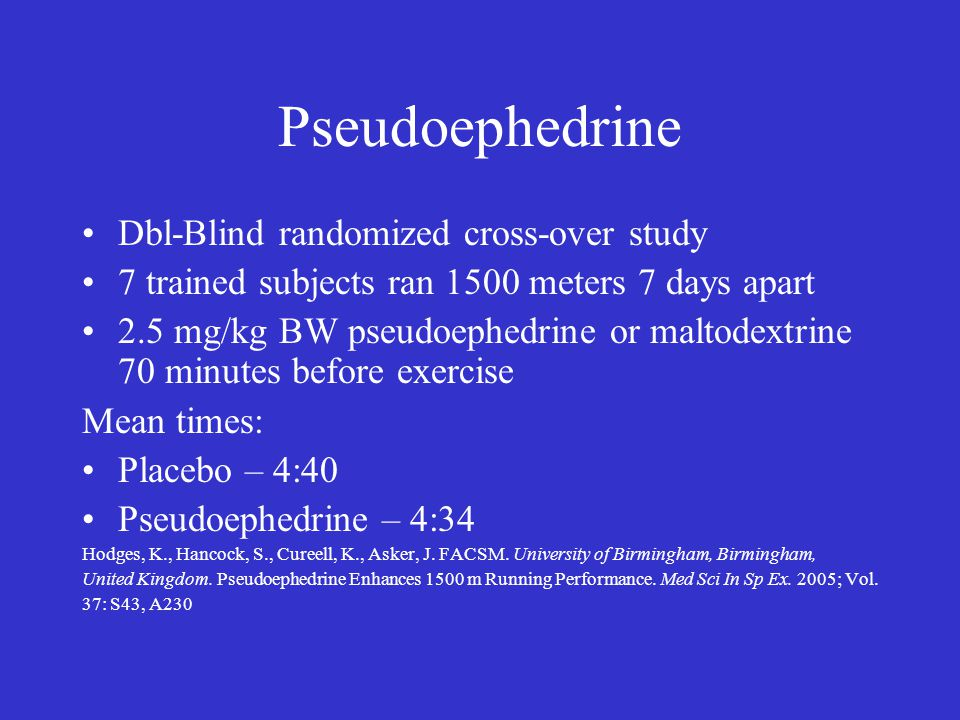 Pseudoephedrine Dbl-Blind randomized cross-over study 7 trained subjects ran 1500 meters 7 days apart 2.5 mg/kg BW pseudoephedrine or maltodextrine 70 minutes before exercise Mean times: Placebo – 4:40 Pseudoephedrine – 4:34 Hodges, K., Hancock, S., Cureell, K., Asker, J.