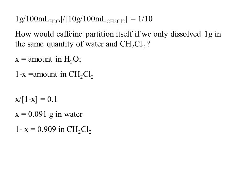 How would caffeine partition itself if we only dissolved 1g in the same quantity of water and CH 2 Cl 2 ? x = amount in H 2 O; 1-x =amount in CH 2 Cl
