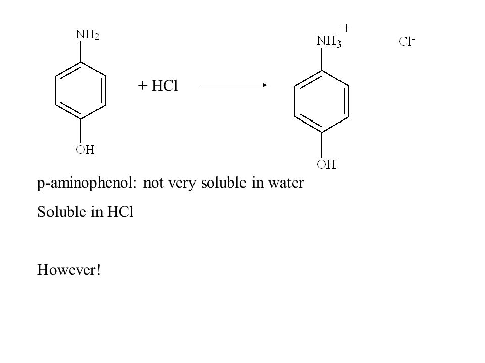 p-aminophenol: not very soluble in water Soluble in HCl However! + HCl