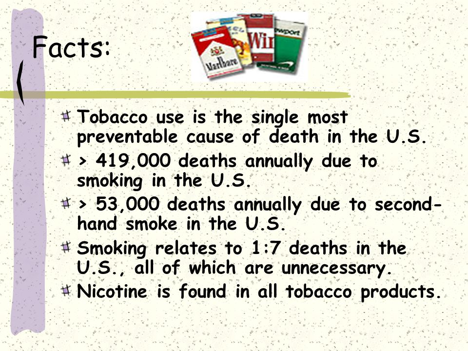 Facts: Tobacco use is the single most preventable cause of death in the U.S.