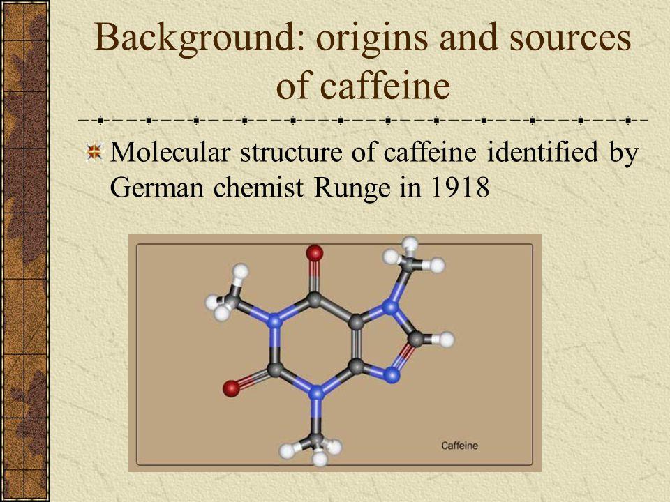Background: origins and sources of caffeine Molecular structure of caffeine identified by German chemist Runge in 1918