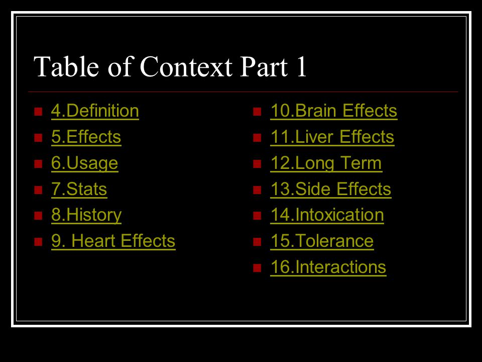 Table of Context Part 1 4.Definition 5.Effects 6.Usage 7.Stats 8.History 9.