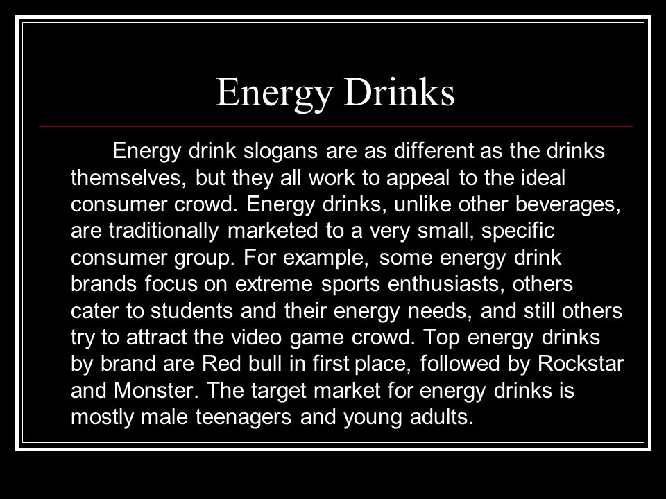 What are Energy Drinks.