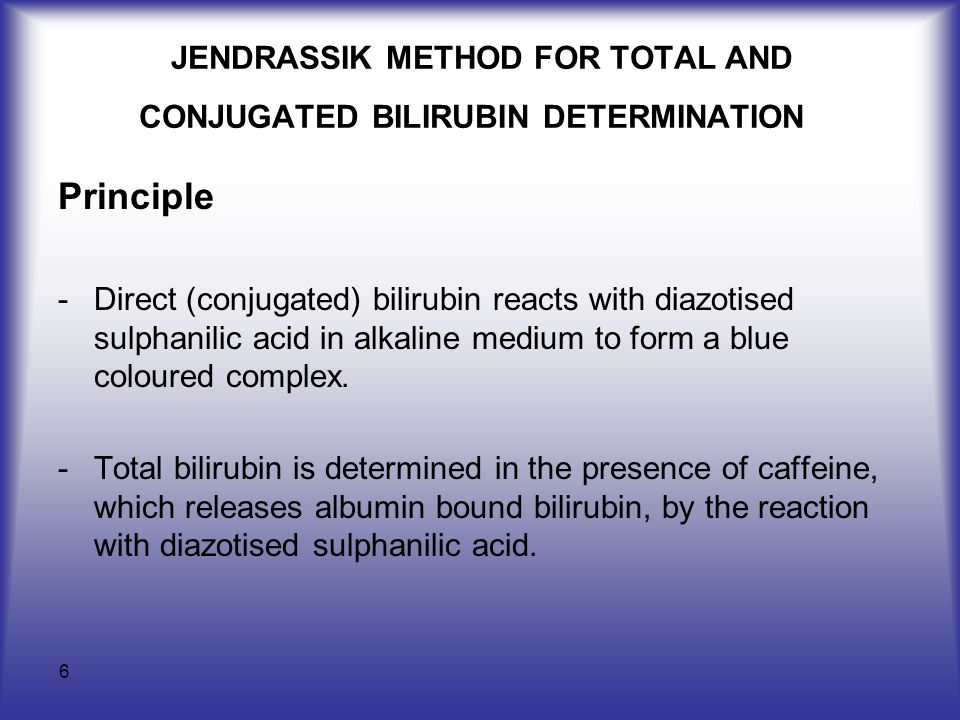 6 JENDRASSIK METHOD FOR TOTAL AND CONJUGATED BILIRUBIN DETERMINATION Principle -Direct (conjugated) bilirubin reacts with diazotised sulphanilic acid