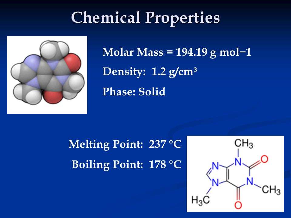 Chemical Properties Molar Mass = 194.19 g mol−1 Density: 1.2 g/cm³ Phase: Solid Melting Point: 237 °C Boiling Point: 178 °C