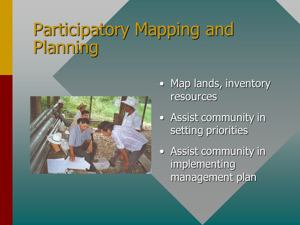 Participatory Mapping and Planning Map lands, inventory resources Assist community in setting priorities Assist community in implementing management p