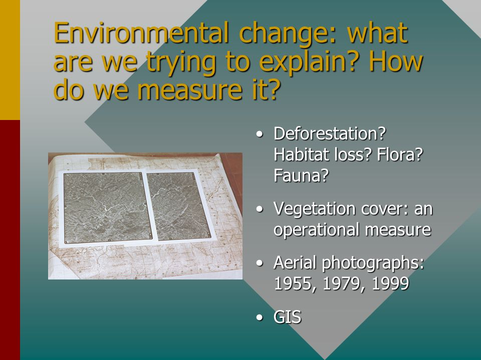 Environmental change: what are we trying to explain? How do we measure it? Deforestation? Habitat loss? Flora? Fauna? Vegetation cover: an operational