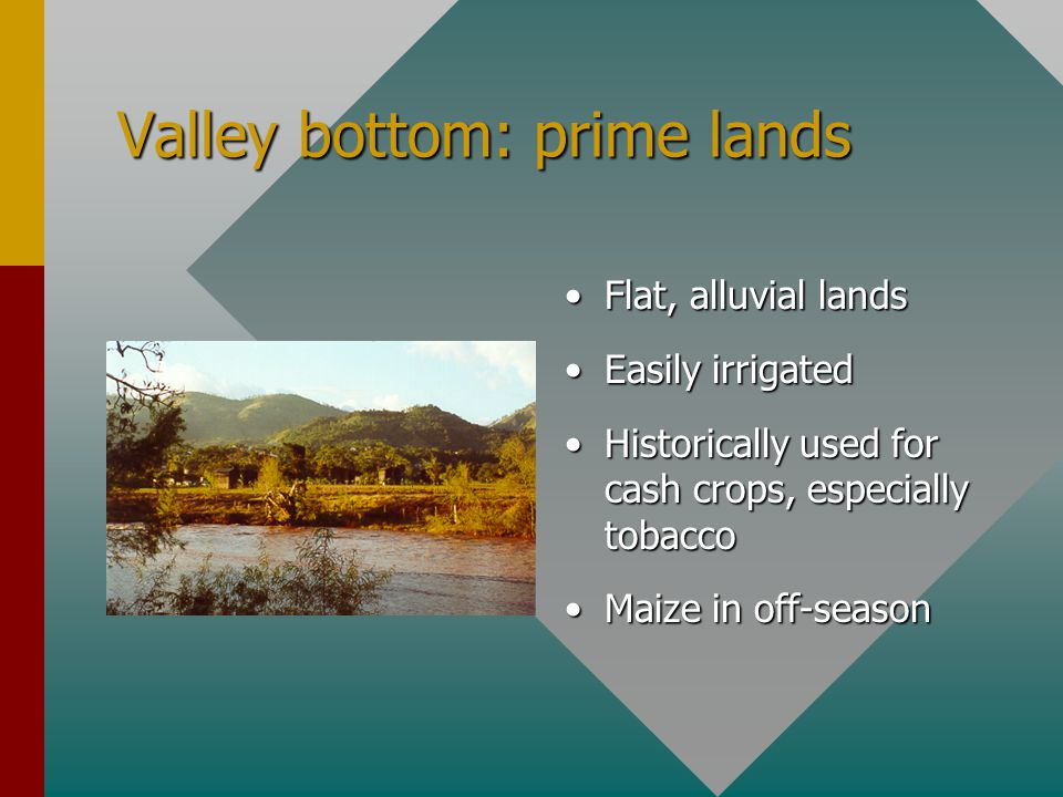 Valley bottom: prime lands Flat, alluvial lands Easily irrigated Historically used for cash crops, especially tobacco Maize in off-season