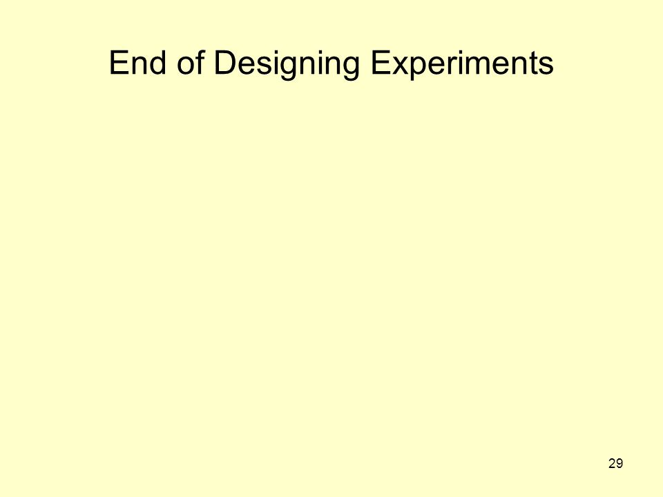 29 End of Designing Experiments