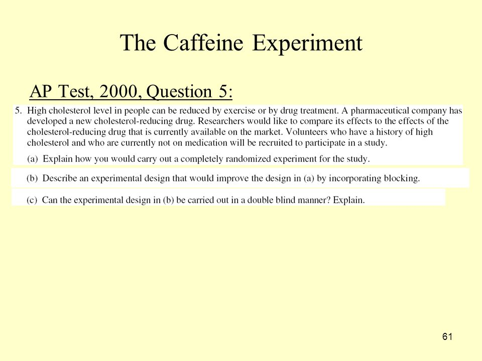 61 The Caffeine Experiment AP Test, 2000, Question 5: