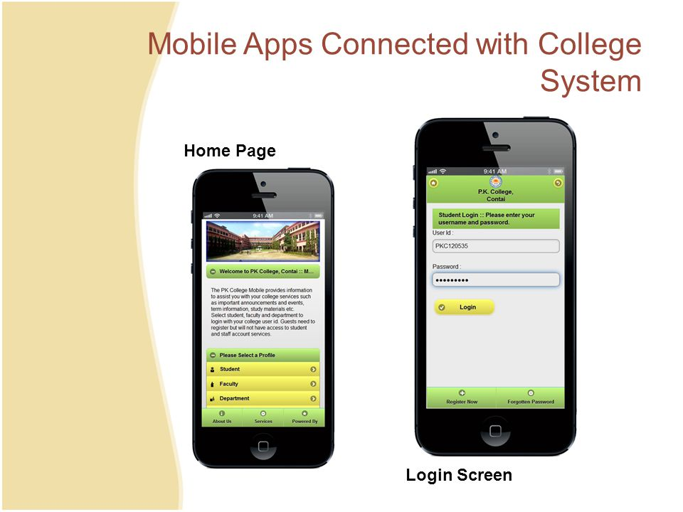 Mobile Apps Connected with College System Home Page Login Screen