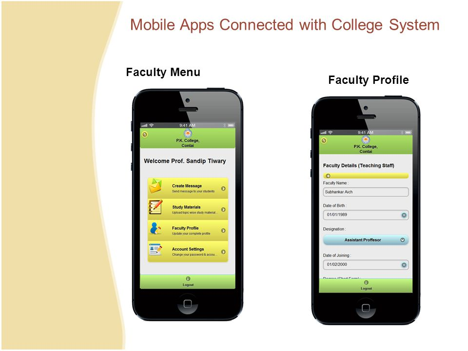 Mobile Apps Connected with College System Faculty Menu Faculty Profile