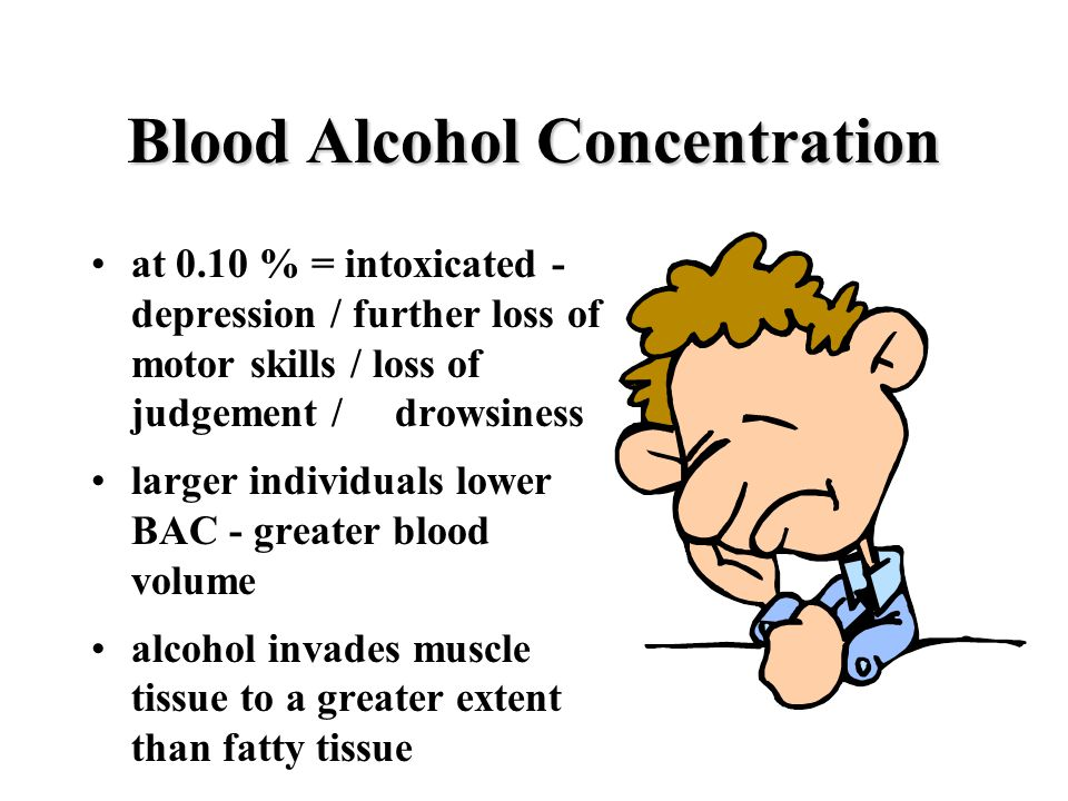 Blood Alcohol Concentration at 0.10 % = intoxicated - depression / further loss of motor skills / loss of judgement / drowsiness larger individuals lower BAC - greater blood volume alcohol invades muscle tissue to a greater extent than fatty tissue