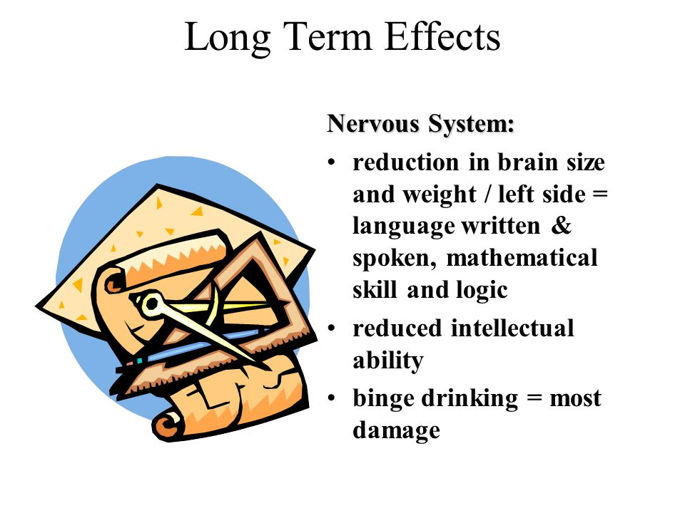 Long Term Effects Nervous System: reduction in brain size and weight / left side = language written & spoken, mathematical skill and logic reduced intellectual ability binge drinking = most damage