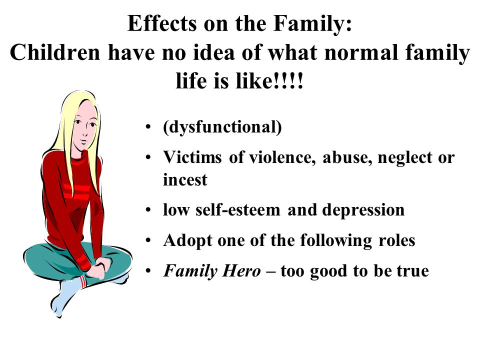 Effects on the Family: Children have no idea of what normal family life is like!!!.