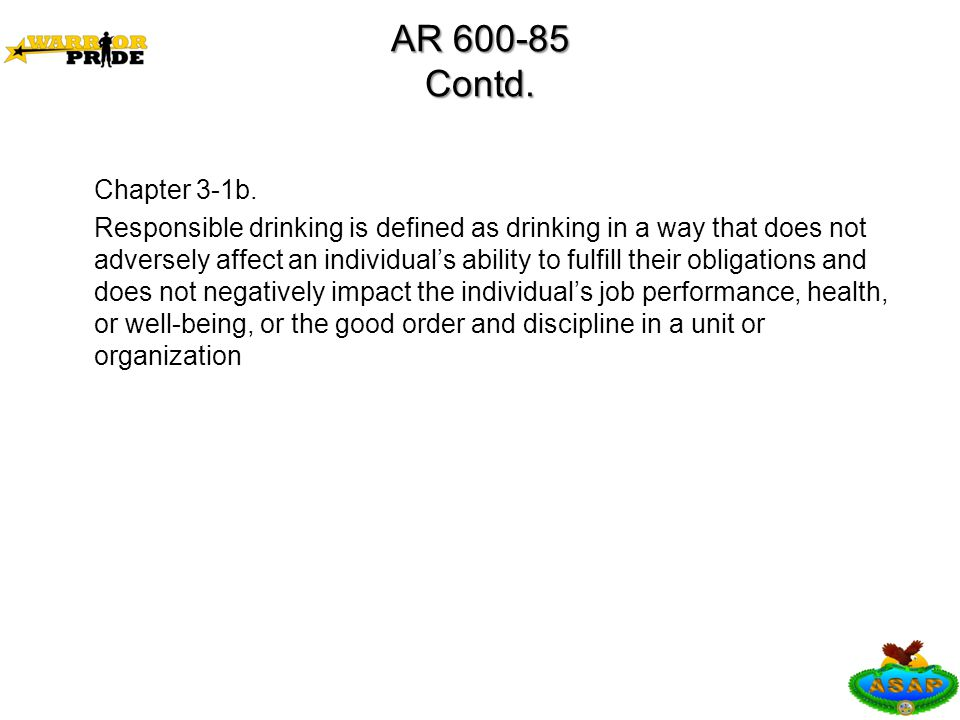 AR 600-85 Contd. Chapter 3-1b.