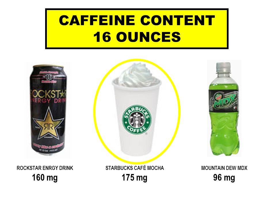 ROCKSTAR ENRGY DRINKSTARBUCKS CAFÉ MOCHAMOUNTAIN DEW MDX 160 mg175 mg96 mg