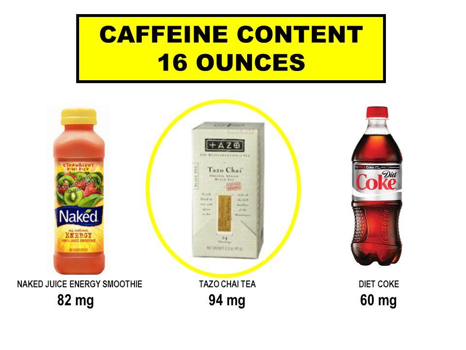 NAKED JUICE ENERGY SMOOTHIETAZO CHAI TEADIET COKE 82 mg94 mg60 mg CAFFEINE CONTENT 16 OUNCES