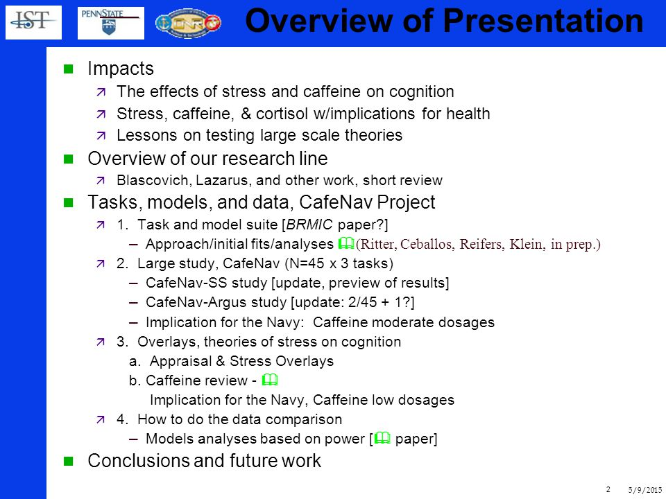 5/9/2015 32 Summary CafeNav Suit: Set of tasks used by subjects and models, and models Headed towards detailed data set  Biopsychology + cognitive  Ready for model comparisons Overlays for pre-task appraisal & caffeine Suggestions for all cognitive architectures  Physio effects, Appraisal effects, Vigilence effects, Strategies May be a problem fitting the data Caffeine, low doses may be as good cognitively, and high doses bad physiologically