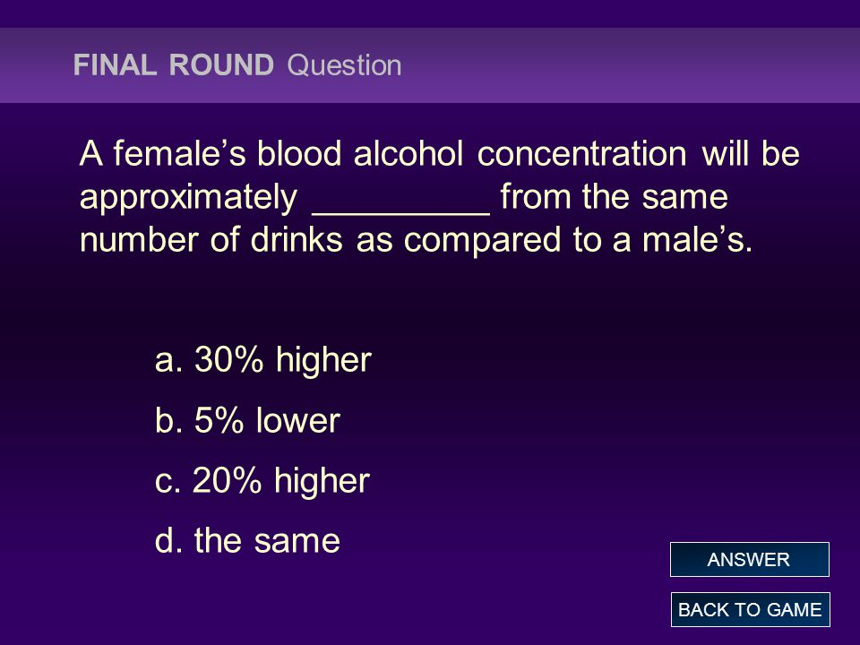 FINAL ROUND Question A female's blood alcohol concentration will be approximately _________ from the same number of drinks as compared to a male's.